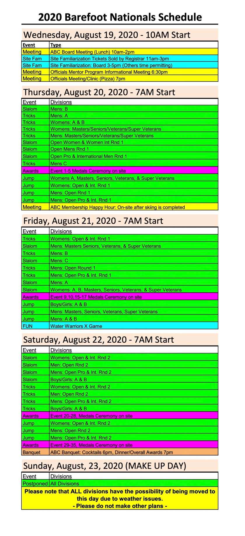 2020 Barefoot Nationals Schedule